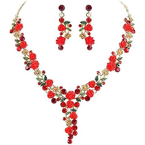 EVER FAITH? Gold-Tone austriaco di cristallo sacco Camelie collana nuziale orecchini set Rosso