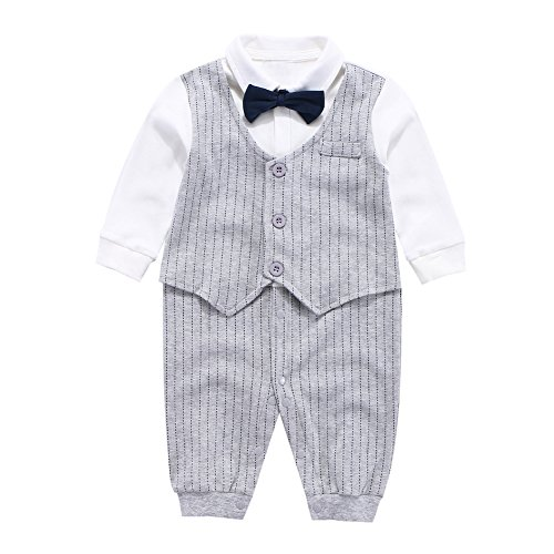 Fairy Baby Baby Outfits Langarm Strampler Jungen Smoking Baby Baumwolle Gentleman Outfit Bowknot Weihnachts/Taufstrampler Kleidung, 9-12 Monate, Grau Streifen (Jungen Für Weihnachten Anzüge)