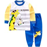 Baby Boy Girl Pajamas Set, Toddler Kids Long Sleeve Cartoon Printed Button Tops+Pants Outfits Set
