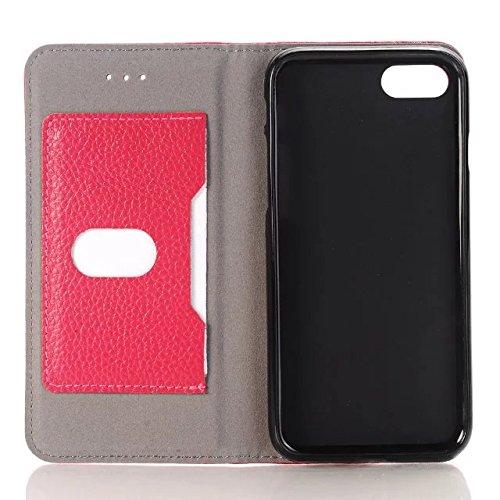 iPhone Case Cover Haute Qualité authentique de cas réel en cuir, solide portefeuille de couleur stand pour Apple iPhone7 ( Color : White , Size : IPhone 7 ) Rose