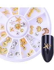 Born Pretty Carrousel de rivets dorés argentés nail art décoration 3D manucure étoiles de mer coquilles soleil