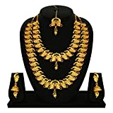 #9: Gold Touch Indian Traditional Peacock Design Wedding Necklace Set for Women and Girls