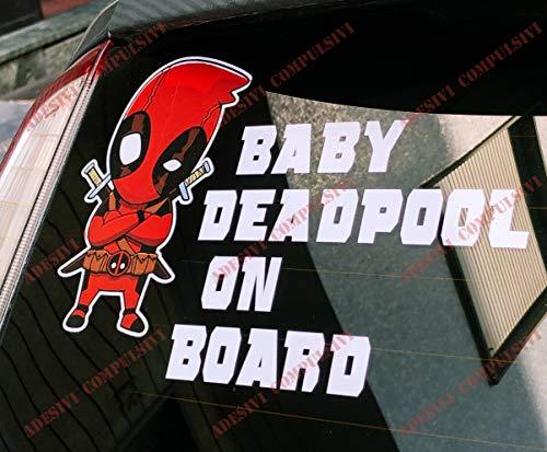 Adhesivo Baby Deadpool ON BOARD para coche y moto