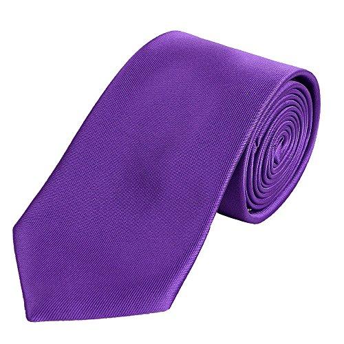 DonDon Herren Krawatte 7 cm klassische handgefertigte Business Krawatte Lila für Büro oder festliche Veranstaltungen