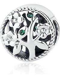 Abalorio para colgar inspirado en el árbol de la vida, fabricado con Plata de ley 925, compatible con pulseras y pulseras europeas.