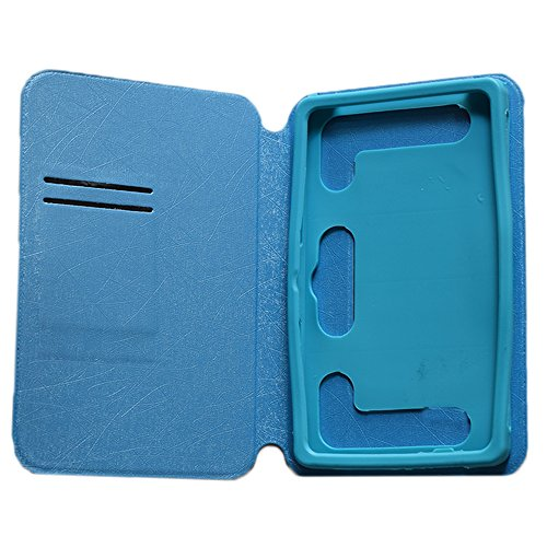 "KANICT 7""inch Tablet Leather Flip Case Cover Compatible for Micromax Canvas Tab P470 Front Back Stand - Sky Blue"