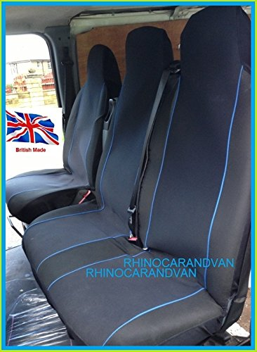 RHINO AUTO RWW8418 Shape Deluxe Van Seat Covers Single Drivers And Double Passengers Seat Covers Black And Blue Piping