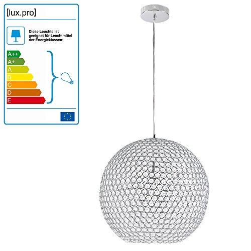 Kugel-Lüster Deckenleuchte / Deckenlampe - Crystal - von [lux.pro]® - Modernes Design: Kron-leuchter aus Aluminium & Kunst-Kristall - Ø 40 cm mit 1 x E14 Sockel - für Wohnzimmer & Schlafzimmer - 3