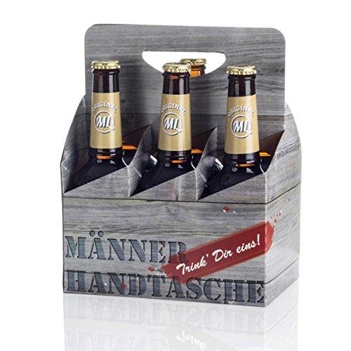 Sixpack 2 x Arschlecken 350, 2 x Hopfensprudel, 2 x Hopfensmoothie in der Männerhandtasche Original ML Helles in 0,33 Liter Flaschen (insgesamt 6) Alc.5,2% vol. (Bier Karton Kostüm)