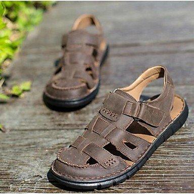 Herren Sandalen Sommer Sandalen Leder Casual flachem Absatz Andere Braun/Khaki Andere Brown