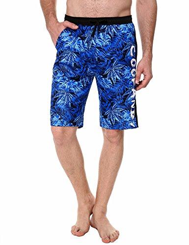 COOFANDY Herren Shorts Sommer Freizeit Hose Urlaub Hawaii Badeshorts Strandmode Blau