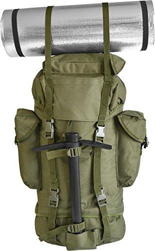 Rucksack, ideal zum Wandern, großes Fassungsvermögen 65 Liter, viele Taschen, Flecktarn OLIV