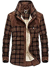 Mr.Stream Men's Padded Lumberjack Casual Long Sleeve Plaid Flannel Fur Lined Button Warm Shirt Sherp Jacket