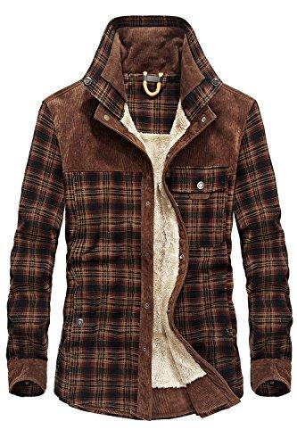 Mr.stream camicia da uomo in stile casual da boscaiolo plaid flanella a quadri camicia imbottita da lavoro di cotone cappotto invernale l red coffee