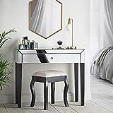 Beautify verspiegelter Schminktisch Konsole mit großen Schubladen, Kristall-Griffen & schwarzen Beinen - Luxuriöse & glänzende Schlafzimmer-Möbel