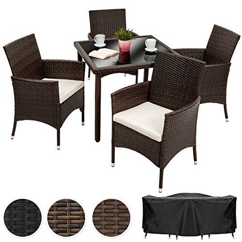 TecTake Poly Ratán Muebles de jardín Conjunto para jardín 4+1 | Tornillos de acero inoxidable incluidos | mixed marrón