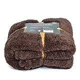 Pink Papaya SnugMe Teddy, flauschig weiche XL Cashmere-Touch Kuschel-Decke, 150 x 200 cm, 270g/m² Teddy-Fleece, Farbe: Braun