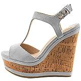 Lutalica Frauen Sexy Wildleder Extreme hohe Plattform Knöchelriemen Keilabsatz Sandalen Schuhe Grau Größe 35 EU