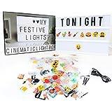 Cinéma Light A4, DELICACY Boite LED Cinema Lumineuse avec 104 Lettres, 85 Emojis Coloré Légère Box, Lightbox pour Décorer Anniversaire/Famille/Boutique