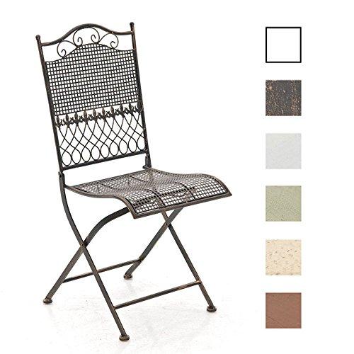 CLP Eisen-Klappstuhl KIRAN im nostalgischen Design | Klappbarer Gartenstuhl mit edlen Verzierungen | In verschiedenen Farben erhältlich Bronze