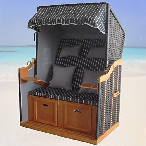XINRO® – XY-71 – Volllieger Ostsee Strandkorb anthrazit inkl. Strandkorbhülle u. 4x Kissen, – schwarzes Polyrattan, Ostsee Strandkorb Form - 2