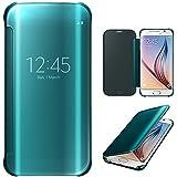 Xtra-Funky Gamme Samsung Galaxy S6 Edge intelligente Date / Heure Rétroviseur Brillant Retournez Couverture dure de cas avec le sommeil / réveil Fonction - Bleu Électrique