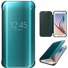 Xtra-Funky Serie Samsung Galaxy S6 Edge inteligente Fecha / Hora Ver Espejo Brillante tirón del caso duro Con del sueño / Despierte Función - Azul Electrico