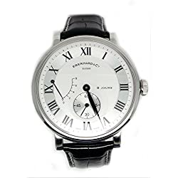 Mechanical Clock Eberhard 8 Jours Grand taille 21027 CP Silver quandrante Steel Leather Strap