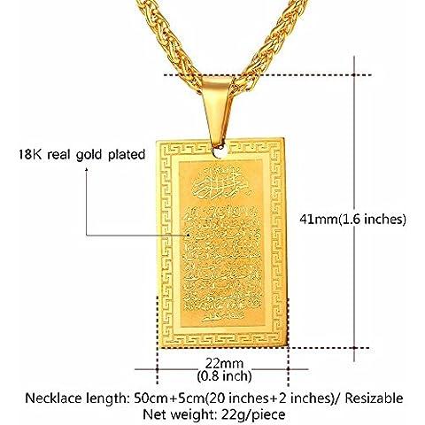 Protezione rettangolare Ayat al kursi Muslim Allah sacro Corano verses Sura arabicl collana ciondolo 18K Real placcato oro seta Pouch (regalo)