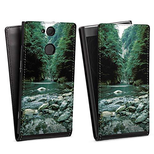 DeinDesign Flip Case kompatibel mit Sony Xperia XA2 Tasche Hülle Fluss Forest Wald