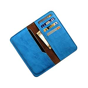 i-KitPit : PU Leather Wallet Flip Pouch Case For Nokia X dual SIM / x+ Dual SIM (SKY BLUE)