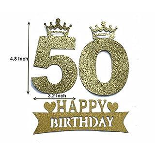 Alemon Zahl 50Kuchendekoration 50. Geburtstag Party Supplies Dekoration, Gold, 12,2cm Länge