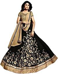 SareeShop Women's Georgette Dress Material (KarmaBlack_Black_Free Size)