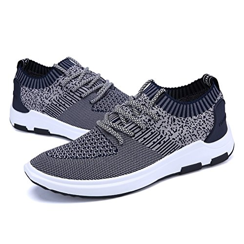 Hommes Casual Hommes Sneakers Casual Chaussures Fly Weave respirant Chaussures de course printemps ( Color : Black-44 ) Argent-39