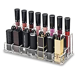 byAlegory Acrylic Lip Makeup Organiser Cosmetic Holder | Combination Rows For Lip Gloss (Back Row) Lipstick & Larger…