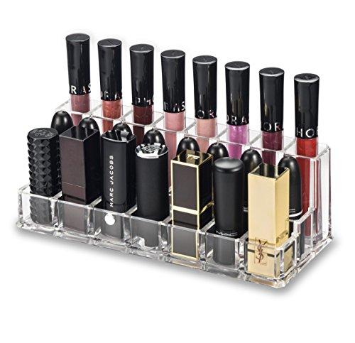 byAlegory Acrylique Lip Maquillage Organisateur | Combinaison de rangées pour les lèvres brillantes (rangée arrière), rouge à lèvres et bâtons à lèvres de plus grande taille (première rangée)