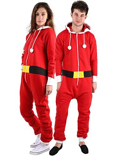 Unisex Weihnachtskostüm für Erwachsene, Overall im Weihnachtselfen-Design, Größen S - 4XL