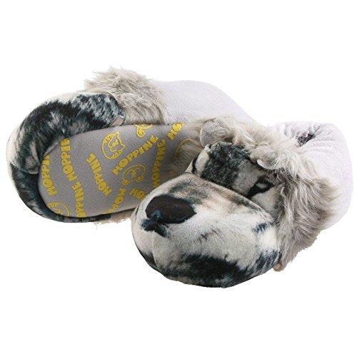 SAMs Plüsch Tier Hausschuhe Wolf Pantoffel Herren 41-47 edel weich Schlappen Puschen Slipper Qualität, TH-Wolf Grau