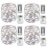Tonskooners Catene Luminose,4 x 10m 100leds Stringa Luci LED Filo d'Argento Luci Natale Batteria per Decorazioni(Bianco Freddo)