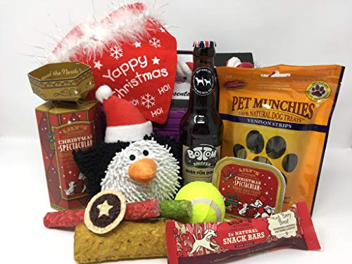 Pet Presents Christmas Treat Hamper for Dogs with Dog Beer