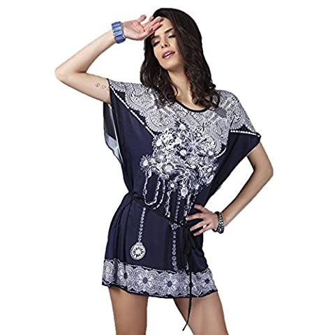 Years Calm Summer Fashion Women Casual Loose Batwing Sleeve White and Blue Print Bohemian Dress(Fit UK 12 14 16 18 20 ) (One size, Blue)