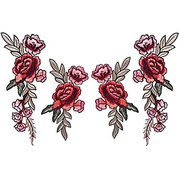 Rose toppe 2 paia fiore rosa toppe, rose applique toppe