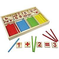Ruikey Jeu Numérique Bâtons Bois Montessori Mathématiques Intelligence Préscolaire Jouet éducatifs pour enfants Ensembles d'aide à l'enseignement
