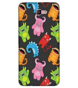 For Samsung Galaxy A5 (2017) many cartoon ( many cartoon, evil cartoon, black background ) Printed Designer Back Case Cover By FashionCops