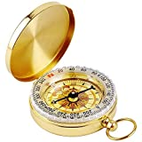 Military Kompass Glühen im Dunkeln, DLAND Portable Taschenuhr Flip-Open Kompass wasserdicht für Camping, Wandern und andere Outdoor-Aktivitäten. (Golden)