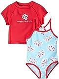 Snapper Rock Ensemble de bain anti-UV comprenant un maillot de bain et un T-shirt de bain anti-irritations pour fille Bleu océan/framboise Rose Rose/bleu