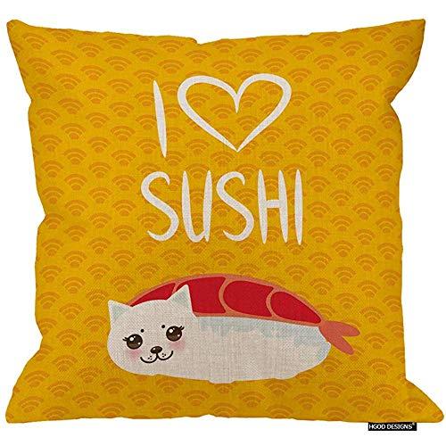 QDAS Sushi Kissenbezug lustige EBI Sushi und weiße süße Katze Zitat ich Liebe Sushi Baumwolle Leinen Kissenbezüge Startseite Throw Pillowcases