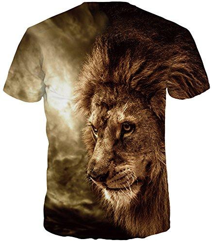 TDOLAH Herren Bunt Galaxy T-Shirt Sport Rundhals Spaß Motiv Tops Sonnenschein Löwe