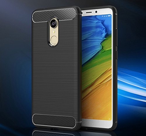 Bracevor Xiaomi Redmi Note 5 [2018] Back Case Cover | Brushed Rugged Armor | Flexible Shockproof Carbon Fiber TPU | - Black