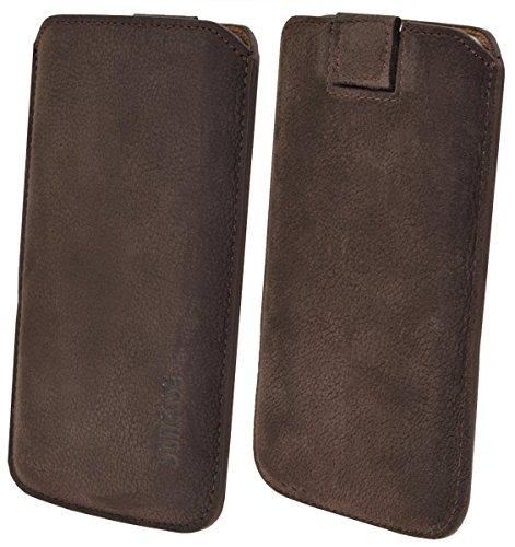iPhone X Leder Etui *Ultra Slim* Tasche Handytasche Original Suncase Ledertasche Schutzhülle Case Hülle (mit Rückzuglasche) schwarz-veloursleder mocca-veloursleder